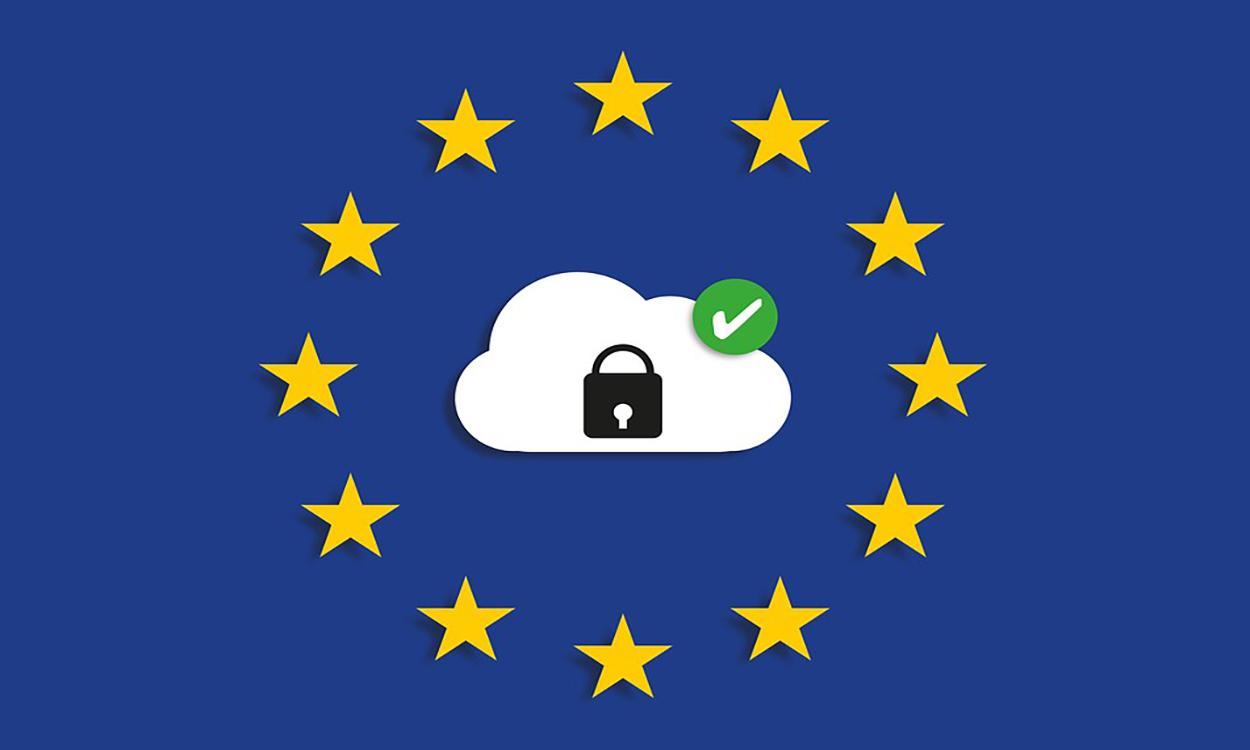 eu flag with padlock