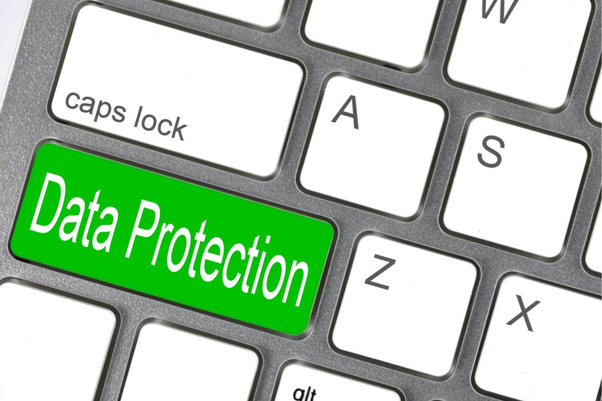 data protection green key on the computer keyboard